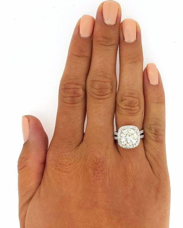 5.25 Ct Round Cut F Vs1 Diamond Halo Engagement Ring 14K White Gold 2