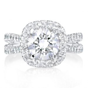 5.25 Ct Round Cut F/Vs1 Diamond Halo Engagement Ring 14K White Gold