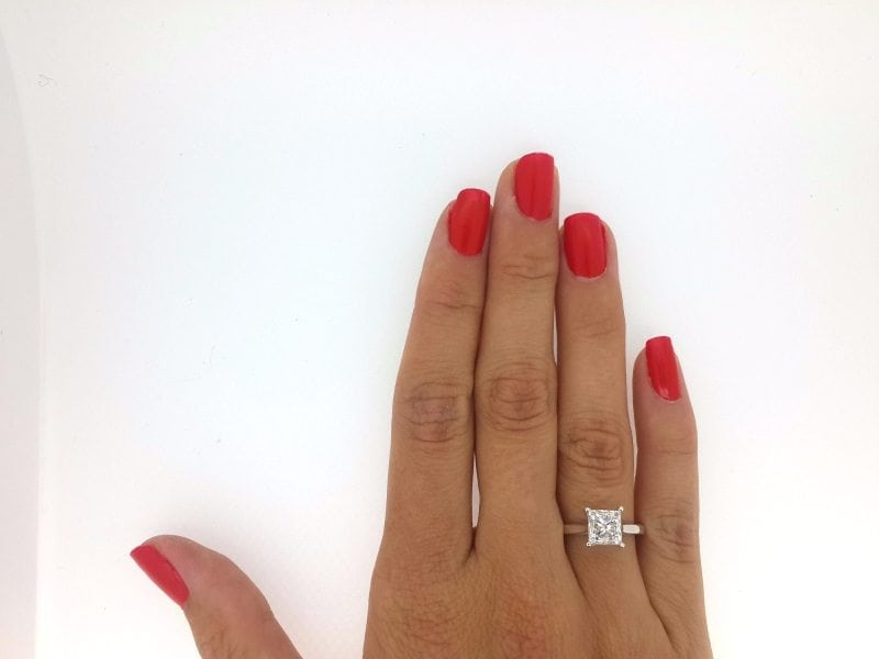 1 12 Ct Princess Cut DVs Diamond Solitaire Engagement Ring 14K White Gold 2