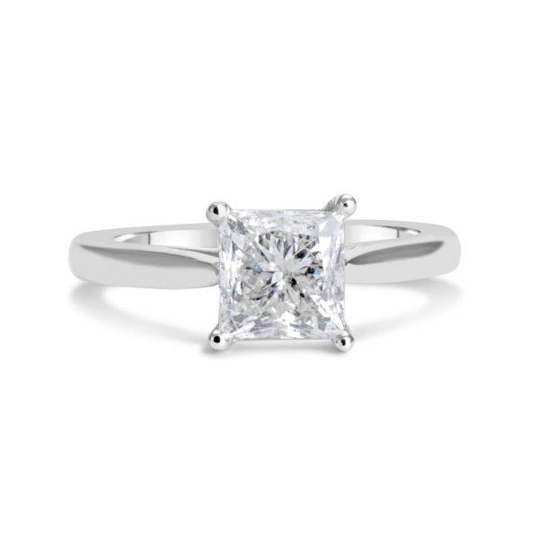 1 12 Ct Princess Cut DVs Diamond Solitaire Engagement Ring 14K White Gold 3