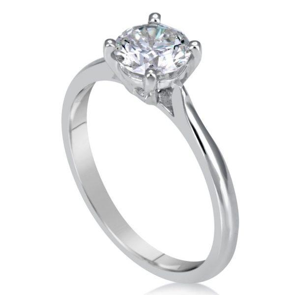 1 Carat Round Cut Diamond Engagement Ring 14K White Gold
