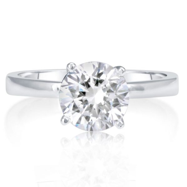 1.00 Ct Round Cut DVs Diamond Solitaire Engagement Ring 14K White Gold 2