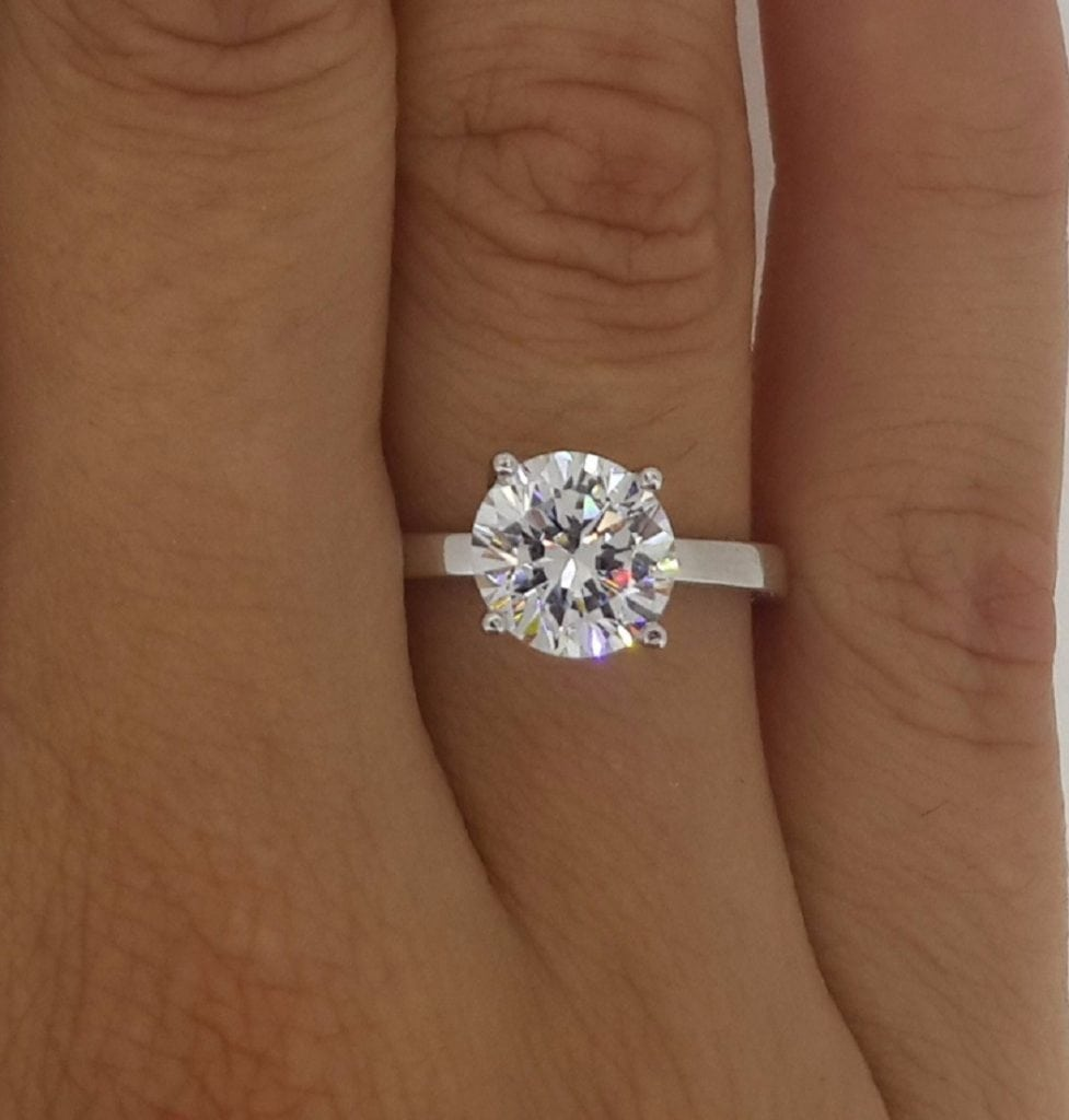 1.00 Ct Round Cut DVs Diamond Solitaire Engagement Ring 14K White Gold