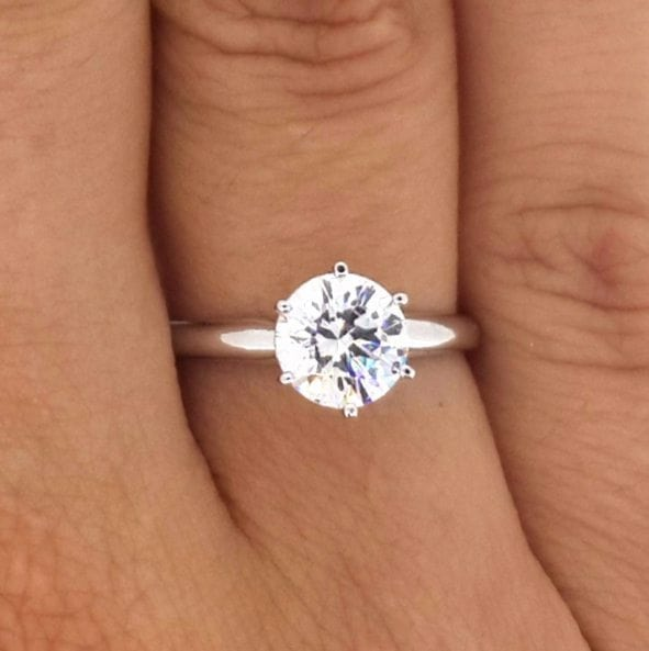 1.20 Ct Round Cut Vs1 Diamond Solitaire Engagement Ring 14K White Gold