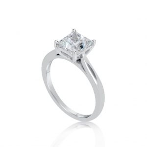 1.5 Carat Princess Cut Diamond Engagement Ring 14K White Gold