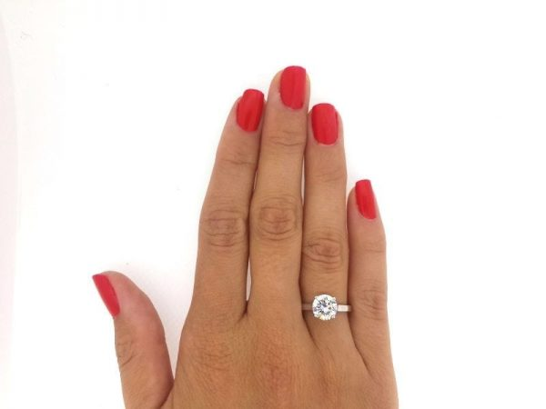 1.5 Carat Round Cut Diamond Engagement Ring 14K White Gold 2