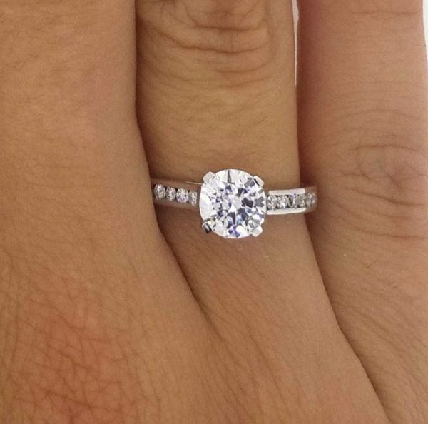 1.5 Carat Round Cut Diamond Engagement Ring 14K White Gold 3