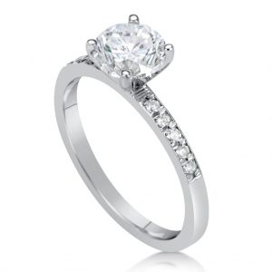1.5 Carat Round Cut Diamond Engagement Ring 18K White Gold