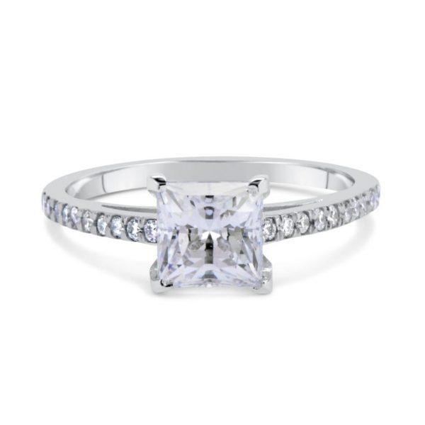 1.51 Carat Princess Cut Diamond Engagement Ring 14K White Gold 2