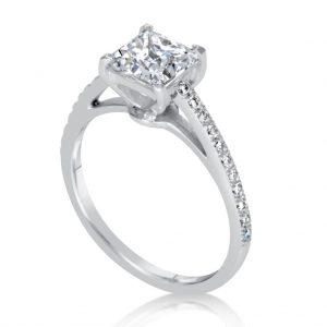 1.51 Carat Princess Cut Diamond Engagement Ring 14K White Gold