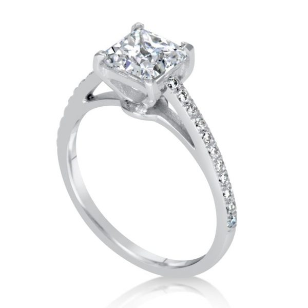 1.51 Ct Princess Cut Diamond Solitaire Engagement Ring 14K White Gold