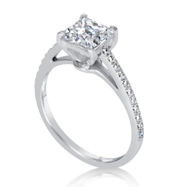 1.54 Carat Princess Cut Diamond Engagement Ring 18K White Gold