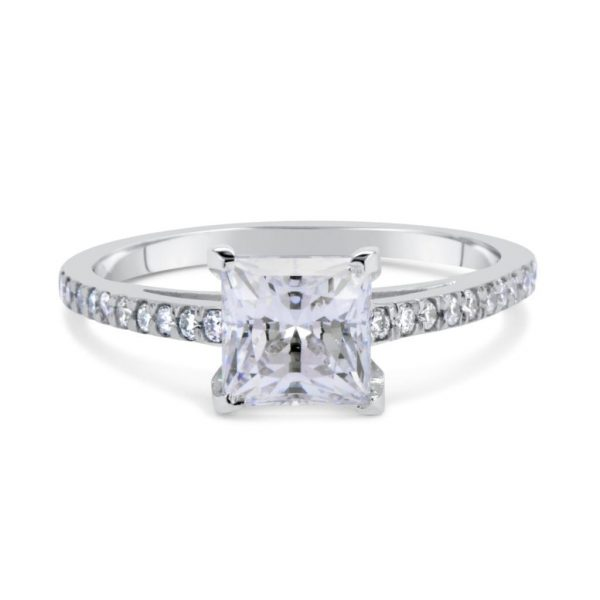 1.54 Ct Princess Cut Diamond Solitaire Engagement Ring 18K White Gold 2