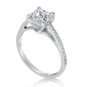 1.54 Ct Princess Cut Diamond Solitaire Engagement Ring 18K White Gold