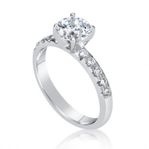 1.66 Carat Round Cut Diamond Engagement Ring 18K White Gold