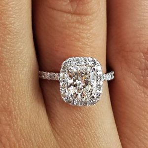 1.7 Carat Cushion Cut Diamond Engagement Ring 14K White Gold
