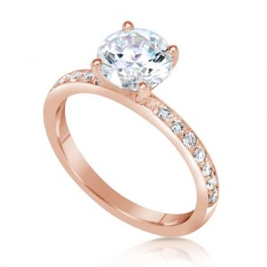 1.7 Carat Round Cut Diamond Engagement Ring 14K Rose Gold