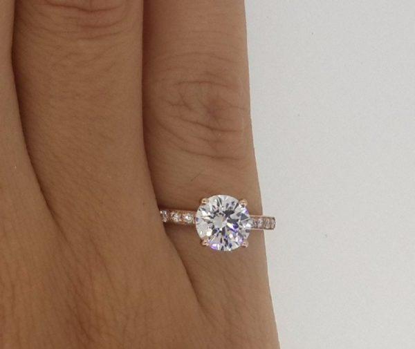 1.7 Carat Round Cut Diamond Engagement Ring 14K Rose Gold 4