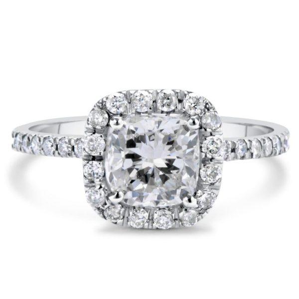 1.70 Ct Cushion Cut DSi1 Diamond Solitaire Engagement Ring 14K White Gold 3