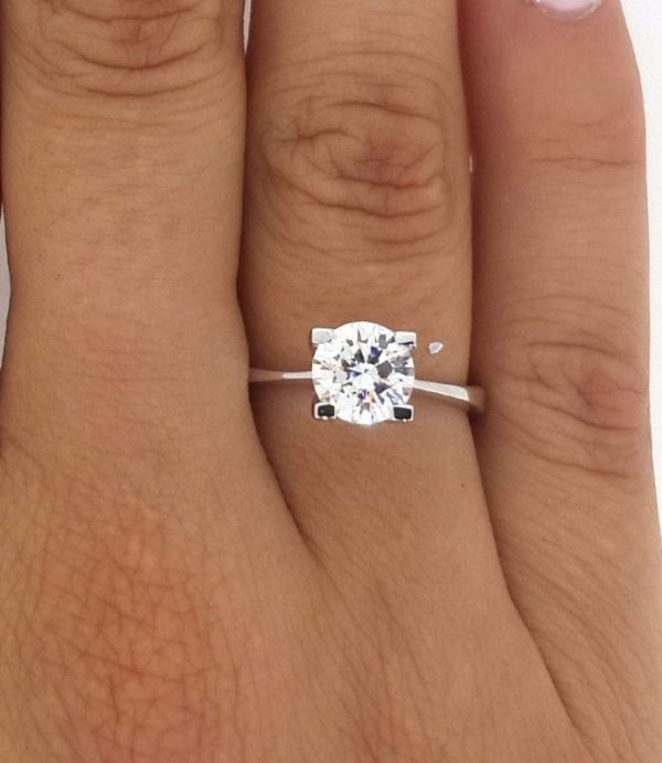 1.75 Carat Round Cut Diamond Engagement Ring 14K White Gold