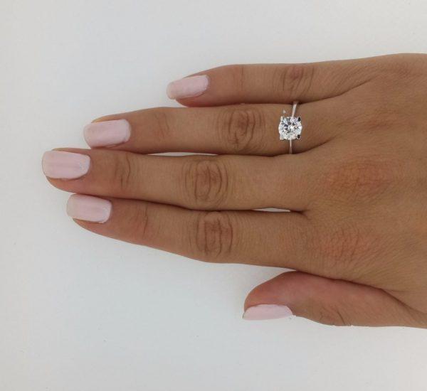 1.75 Carat Round Cut Diamond Engagement Ring 14K White Gold 3