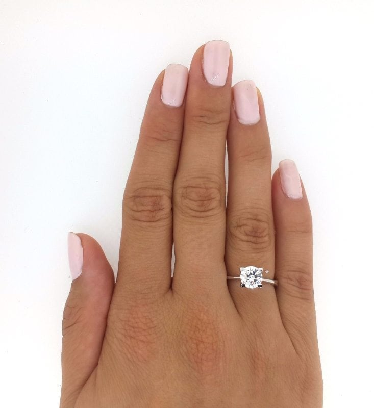 1.76 Ct Round Cut DVs2 Diamond Solitaire Engagement Ring 14K White Gold 2