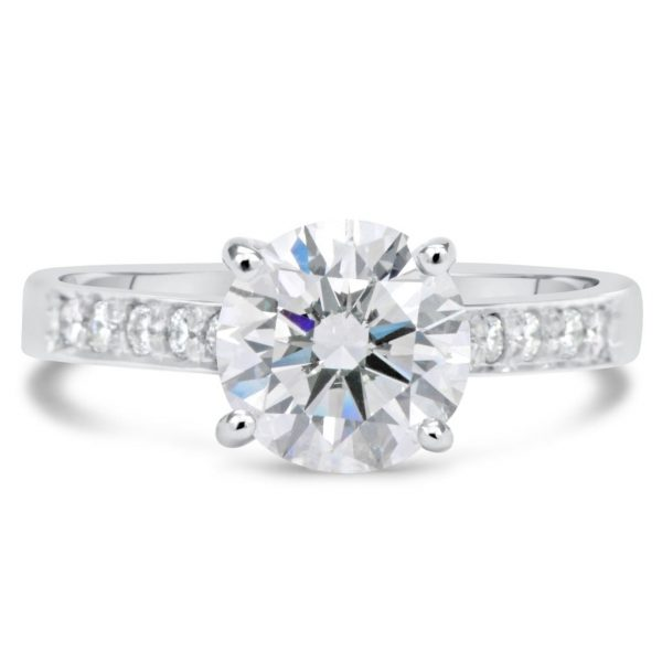 2 12 Ct Round Cut DVs2 Diamond Solitaire Engagement Ring 18K White Gold 4