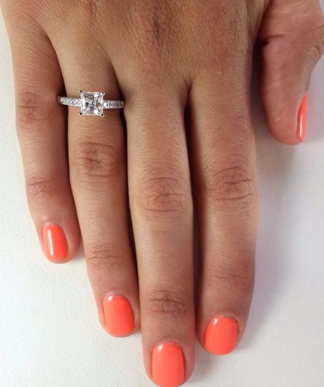 2 Carat Princess Cut Diamond Engagement Ring 14K White Gold 4