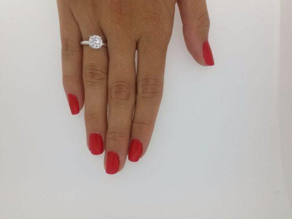2 Carat Round Cut Diamond Engagement Ring 14K White Gold 2