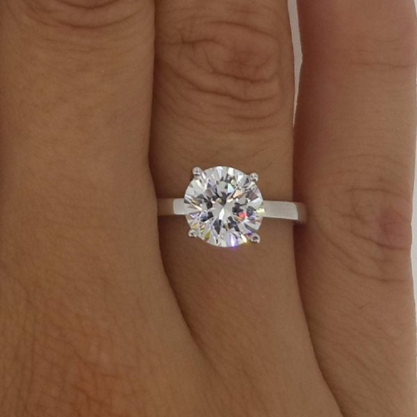 ring one round more moissanite gold for carat solitaire forever pin engagement white women rings