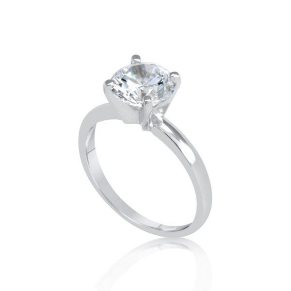 2 Carat Round Cut Diamond Engagement Ring 14K White Gold 3