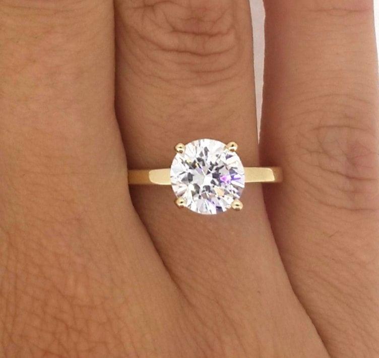2 Carat Round Cut Diamond Engagement Ring 14K Yellow Gold