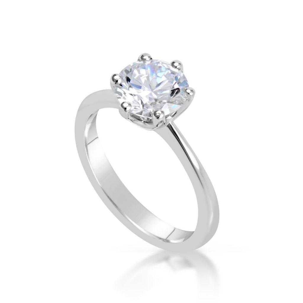 2 carat round cut diamond engagement ring ara diamonds. Black Bedroom Furniture Sets. Home Design Ideas