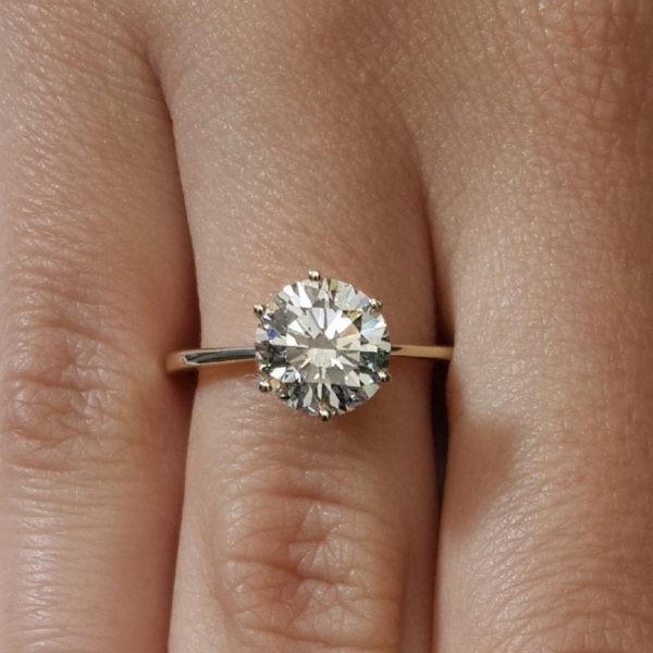 g si h white ring engagement diamond enhanced gold solitaire round rings