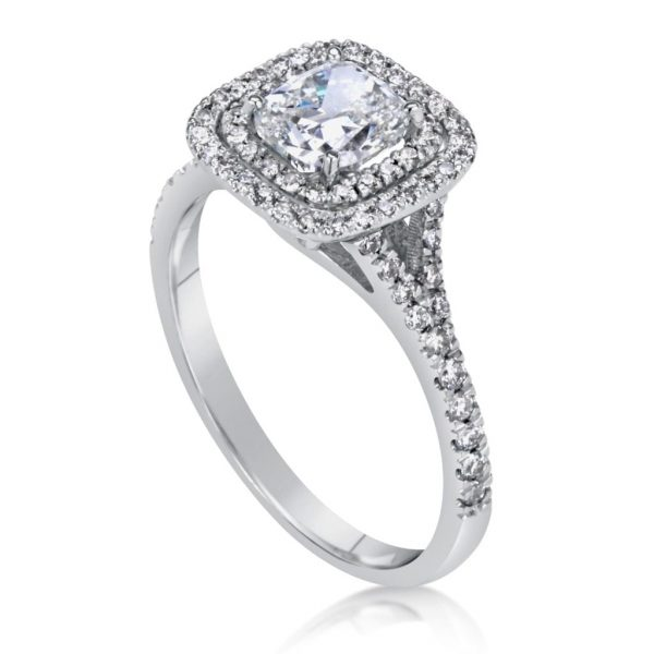 2.00 Ct Cushion Cut Diamond Solitaire Engagement Ring 14K White Gold 3