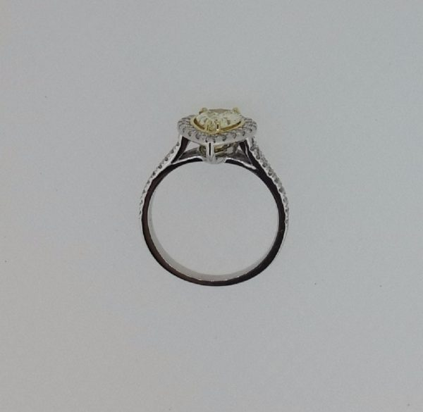 2.00 Ct Pear Shape Fancy Yellow Diamond Solitaire Engagement Ring 18K Gold 3