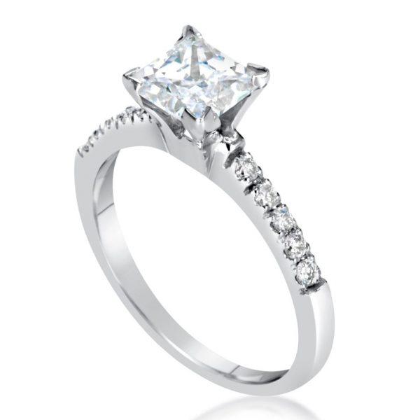 2.00 Ct Princess Cut D Vs1 Diamond Solitaire Engagement Ring 14K White Gold 2