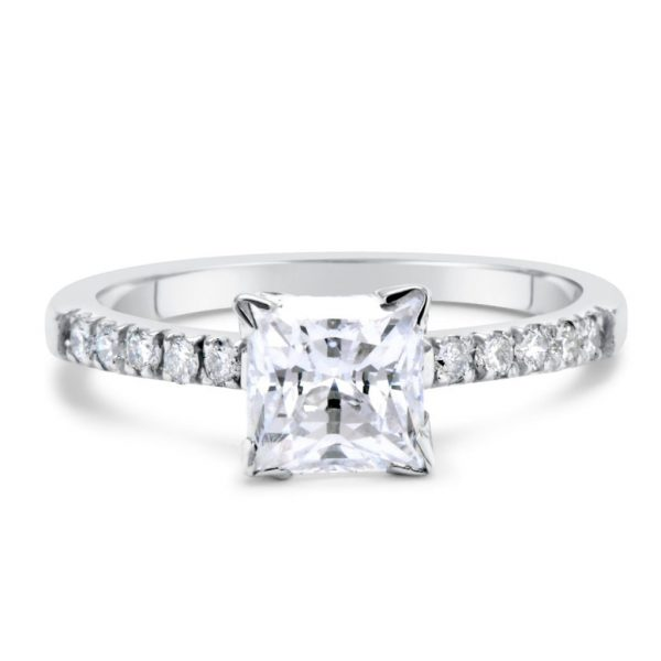 2.00 Ct Princess Cut D Vs1 Diamond Solitaire Engagement Ring 14K White Gold 3