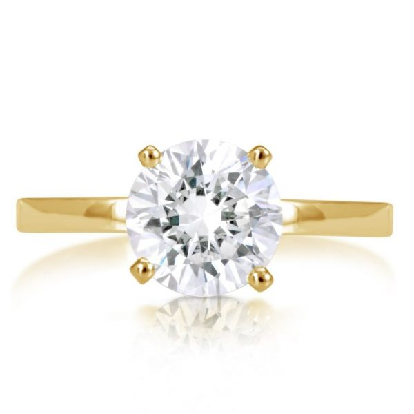 2.00 Ct Round Cut Vs1 Diamond Solitaire Engagement Ring 14K Yellow Gold 2