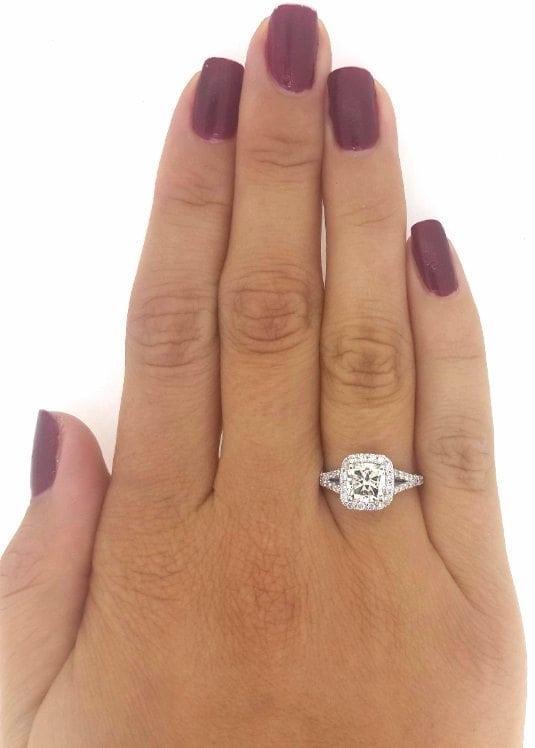 2.01 Carat Cushion Cut Diamond Engagement Ring 14K White Gold 3