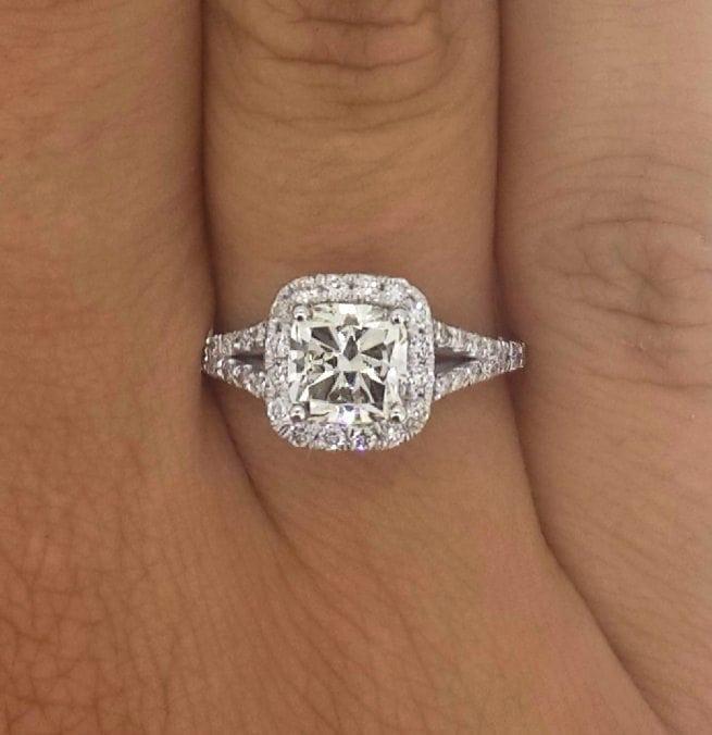 2.01 Carat Cushion Cut Diamond Engagement Ring