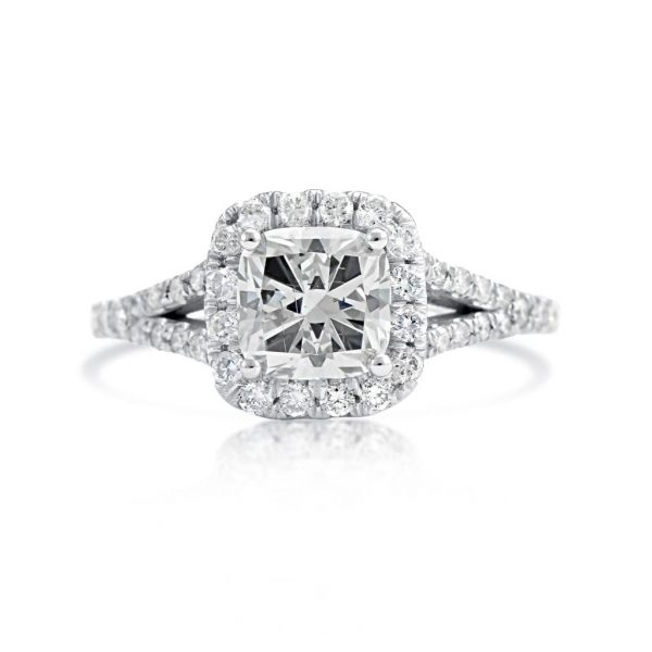2.01 Ct Cushion Cut Diamond Solitaire Engagement Ring 18K White Gold 2