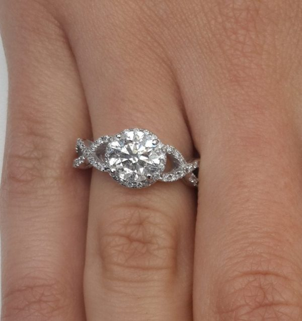 2.02 Carat Round Cut Diamond Engagement Ring 18K White Gold 3