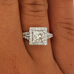 2.05 Carat Princess Cut Diamond Engagement Ring 14K White Gold