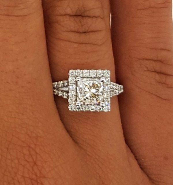 2.05 Carat Princess Cut Diamond Engagement Ring 14K White Gold