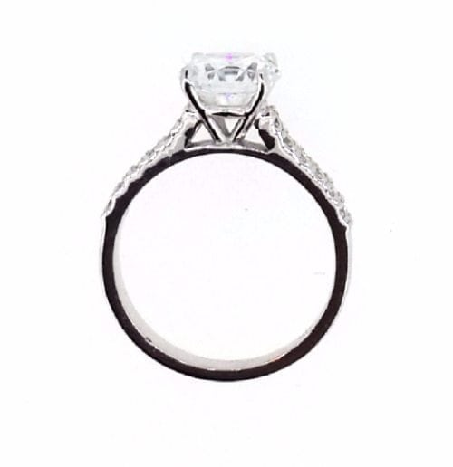 2.1 Carat Round Cut Diamond Engagement Ring 14K White Gold 2