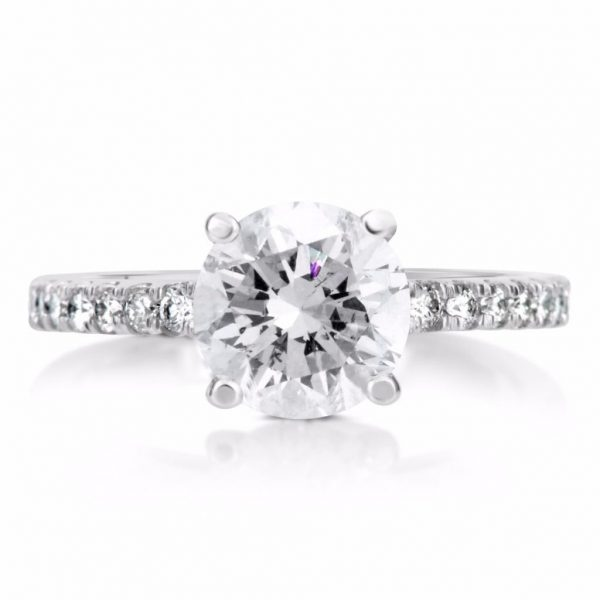2.1 Carat Round Cut Diamond Engagement Ring 14K White Gold 4