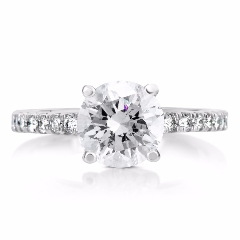 2.10 Ct Round Cut Vs1 Diamond Solitaire Engagement Ring 14K White Gold