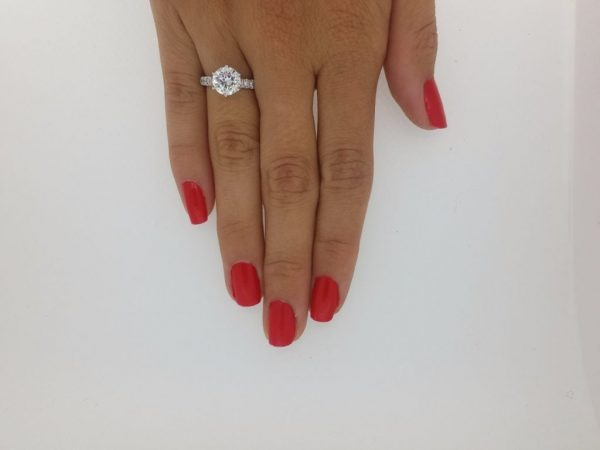 2.15 Carat Round Cut Diamond Engagement Ring 18K White Gold 2