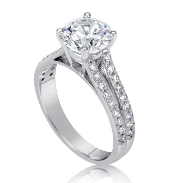 2.2 Carat Round Cut Diamond Engagement Ring 14K White Gold
